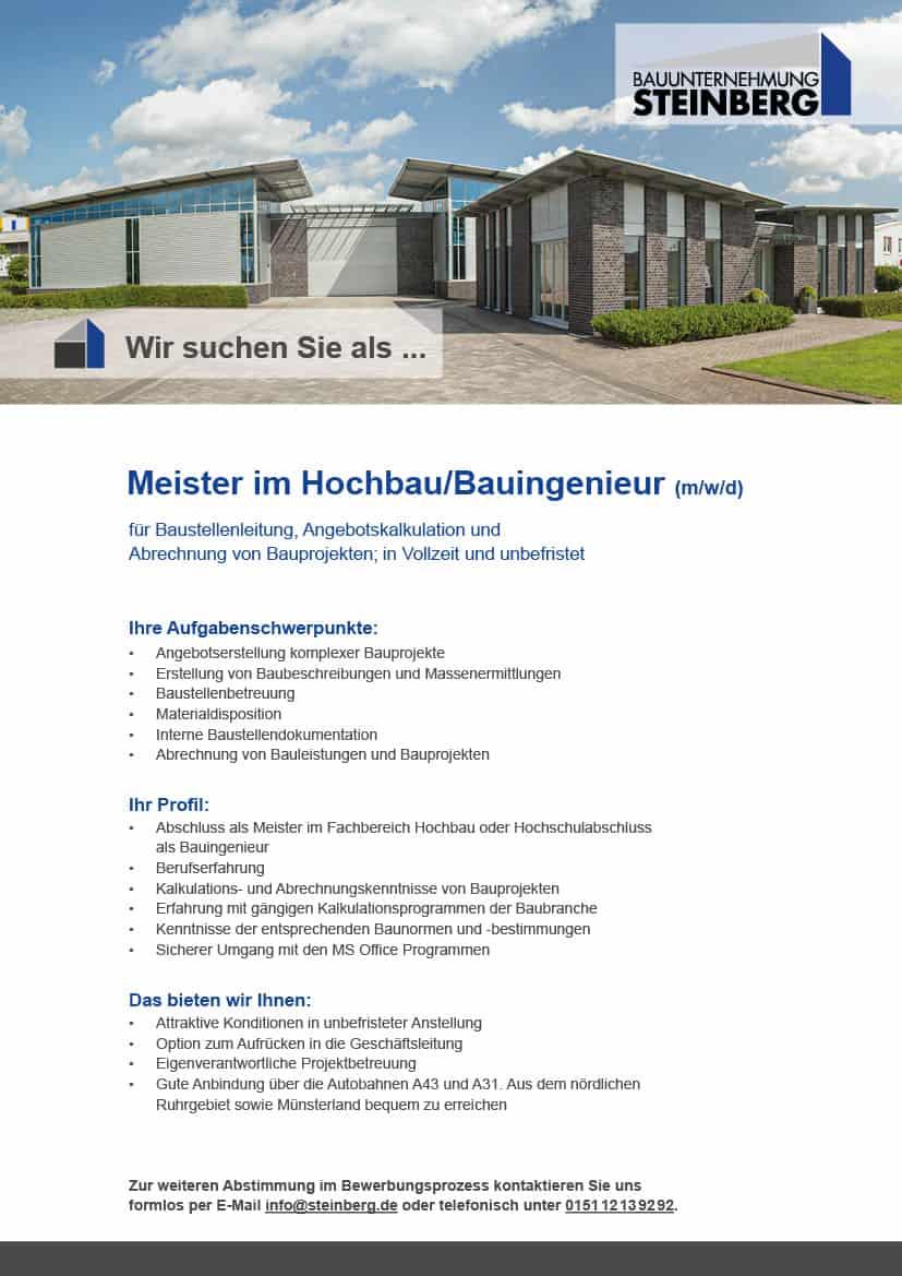 Jobbeschreibung: Meister im Hochbau/Bauingenieur (m/w/d)